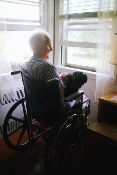 Older man in wheelchair with dog by window